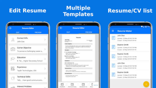 Top Resume screenshot is one of the best resume builder apps